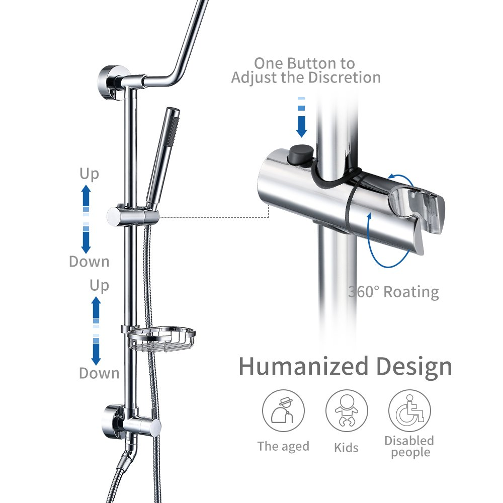 HOMELODY Shower Systems with Rain Shower and Handheld, 8'' Stainless Steel Rain Shower Head, Brass Hand Held Shower Head, Adjustable Slide Bar and Brass Soap Dish, Chrome B7021CP by HOMELODY (Image #3)