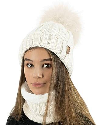 ea6e3143ee3d8 TOSKATOK® Gorro y Bufanda para Mujer de Invierno con Gorro y Forro Polar  cálido con