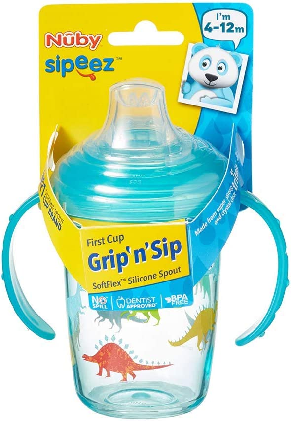GripnSip First Sipeez Cup from Nuby Age 4-12m BPA Free Dinosaurs