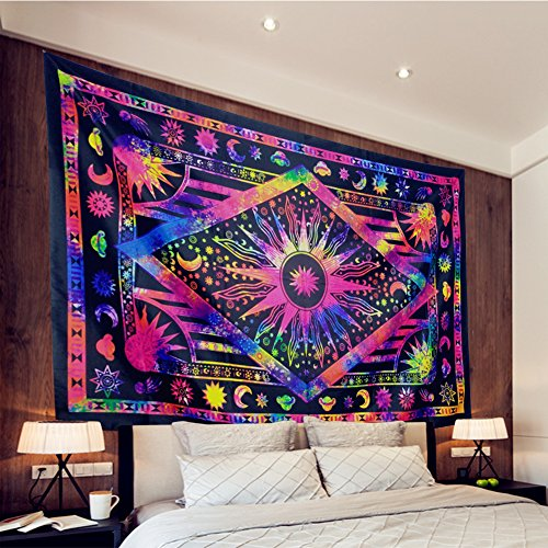 Tapestry Psychedelic Celestial Sun and Moon Tapestry Bohemian Stars Planet Wall Tapestries Tie Dye Purple Burning Sun Tapestry Galaxy Mandala Boho Hippie Tapestry Wall Hanging (X-Large, - Wall Tie Tapestries Dye