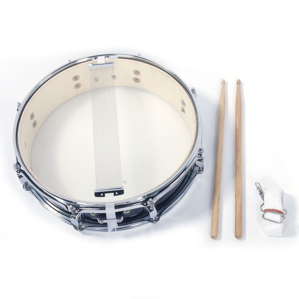 FRITHJILL Professional Snare Drum, 13x3.5 inch Black Snare Drum Student Beginner Steel Piccolo Snare Drum Set w/Drum Key Drumsticks and Strap