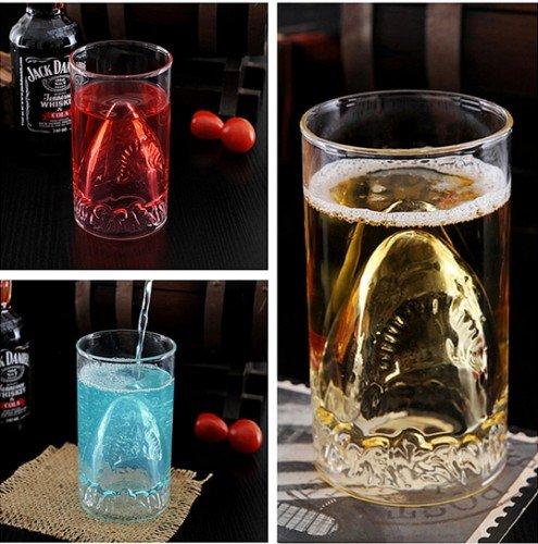 1*300ML New Sharks Cup Handmade Glass Beer Mug Glassware