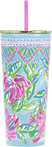 Lilly Pulitzer Pink/Blue/Green Double Wall Insulated Tumbler with Reusable Flexible Straw, Holds 24 Ounces, Totally Blossom