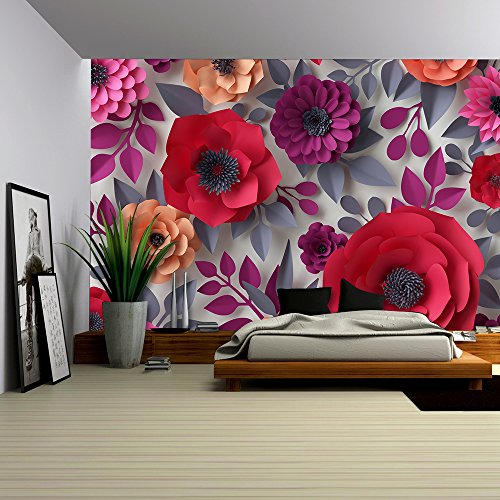 wall26 - Illustration - 3d Render, Digital Illustration, Red Pink Paper Flowers, Bridal Bouquet - Removable Wall Mural | Self-adhesive Large Wallpaper - 100x144 inches