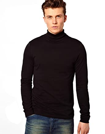 916098226aeb MEN S BLACK ROLL NECK SOFT SUPERIOR QUALITY COTTON LONG-SLEEVE TOPS(Ref 1251)   Amazon.co.uk  Clothing