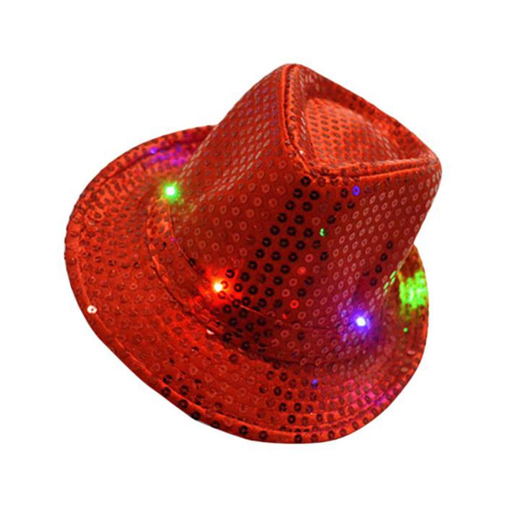RXIN Fashion Adult LED Cap Flashing Light Up Sequins Birthday Masquerade Party Hat Props Women Men Casual Caps