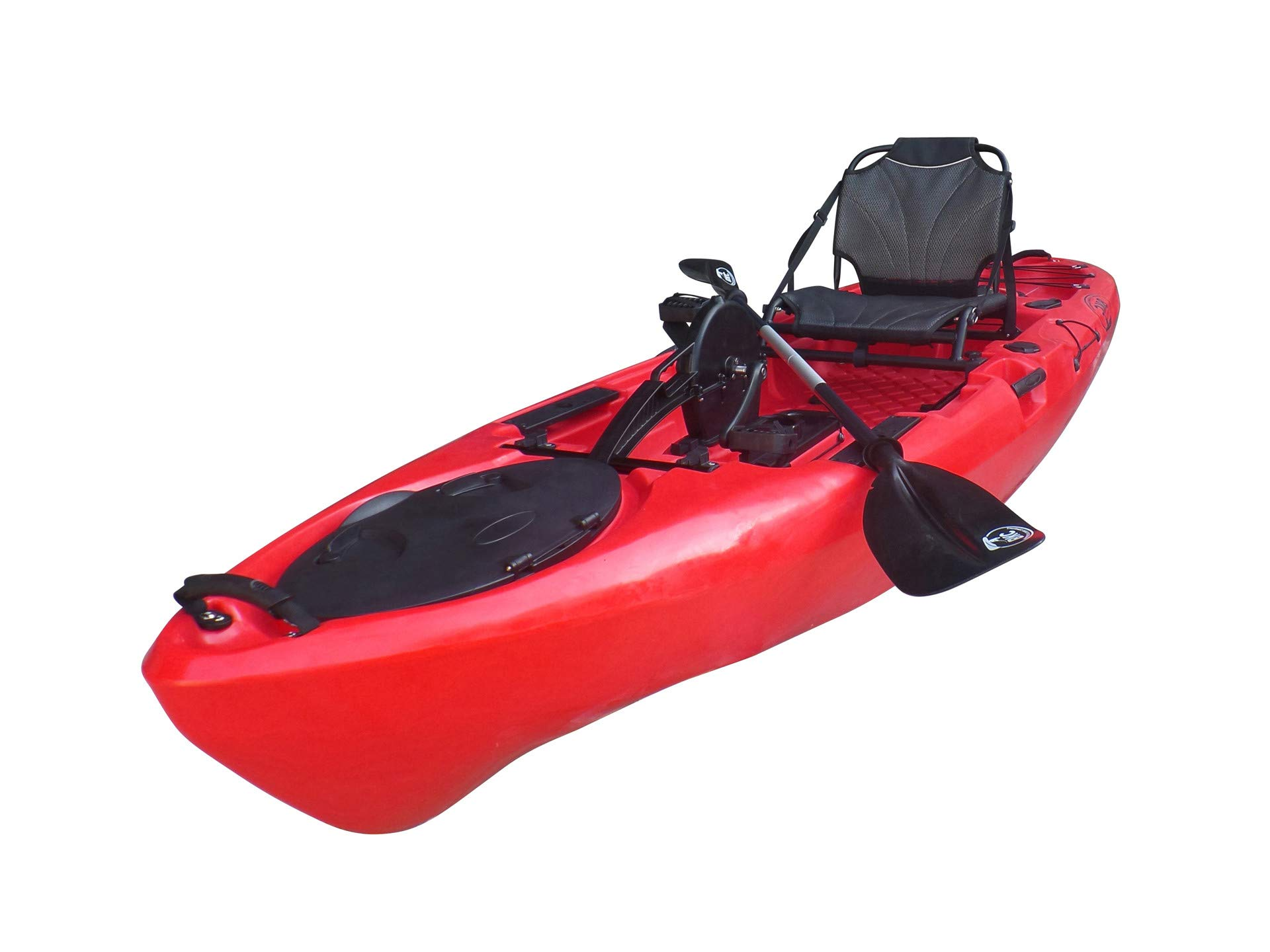 BKC PK11 10.6' Single Propeller Pedal Drive Fishing Kayak W/Rudder System, Paddle and Upright Back Support Aluminum Frame Seat Person Foot Operated Kayak by Brooklyn Kayak Company