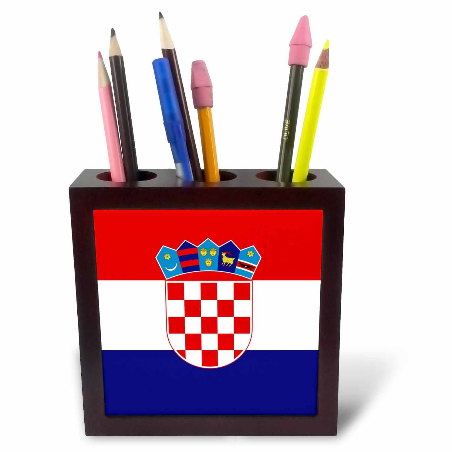 3dRose ph_158301_1 Flag of Croatia Croat Red White Blue Stripes Croatian Coat of Arms Shield Europe Country World Tile Pen Holder, 5-Inch