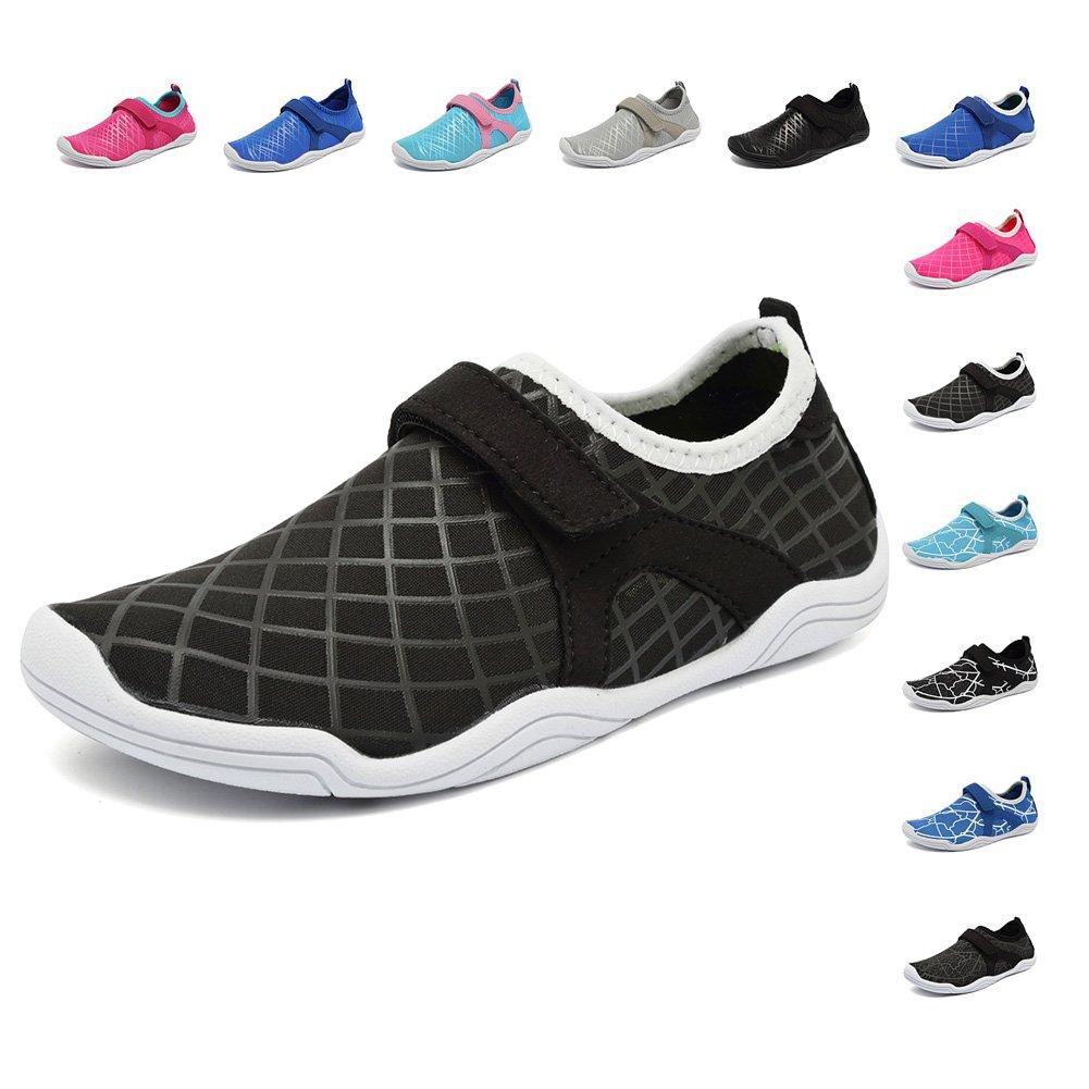 Fanture Girls & Boys Water Shoes Lightweight Comfort Sole Easy Walking Athletic Slip on Aqua Sock(Toddler/Little Kid/Big Kid) U4JSX001-F.black-36