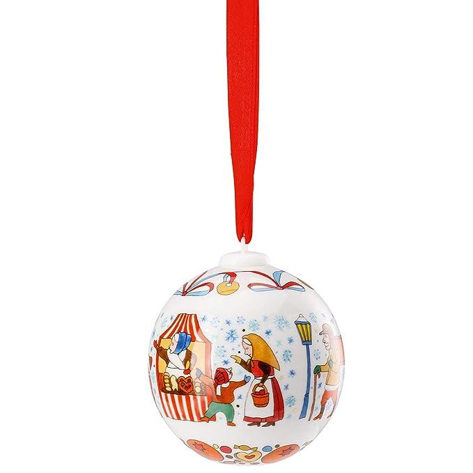 Hutschenreuther 2019 Porzellan Glocke Kugel 2019 in Originalverpackung Motiv Weihnachtsmarkt OVP
