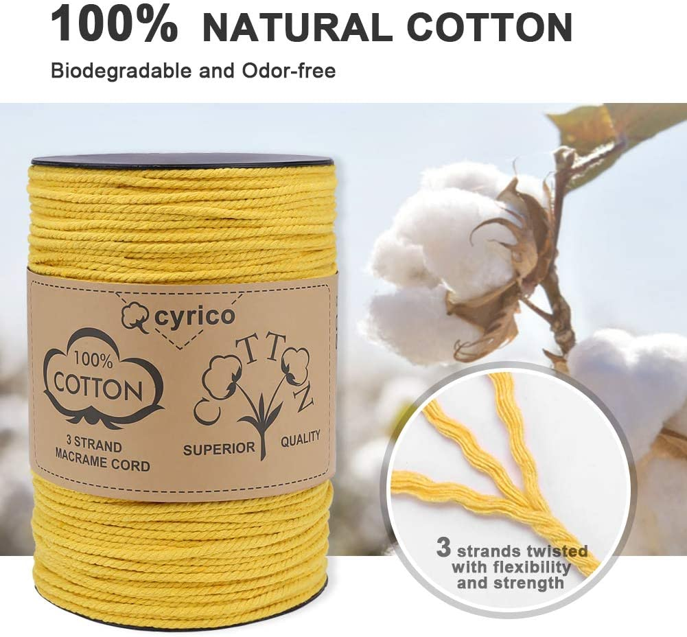 100/% Natural Unbleached Cotton Macrame Rope 3 Strands Twisted Macrame Cotton Cord for Wall Hangings cyrico Macrame Cord 4mm x 191 Yards Gift Wrapping and Wedding Decorations Plant Hangers