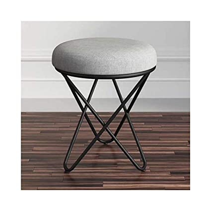 Fine Amazon Com Qiqi Life Vanity Stool Round Linen Upholstered Dailytribune Chair Design For Home Dailytribuneorg