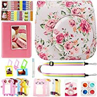 Elvam Camera Accessory Bundles Set for Fujifilm Instax Mini 8 / Mini 8+ / Mini 9 (Camera Case/Camera Strap/Album/Photo Frame/Desktop Frame/Film Sticker/Lens Filter/Marking Pen) - White Vintage Floral