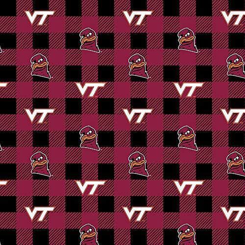 Virginia TECH University Fleece Blanket Fabric-Virginia TECH Hokies Fleece Fabric with Buffalo Plaid Design