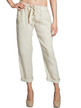 13bf4c633a3298 CASPAR KHS042 Lange leichte Damen Sommer Boyfriend Leinenhose,  Farbe:beige;Größe:L
