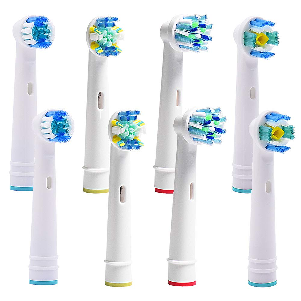BristleSoft Oral B Replacement Brush Heads Compatible For Pro Vitality Electric Toothbrush –8pc Floss Action, Cross Action, Precision Clean, Pro White -For Oral B Sensitive Triumph Pro 1000 Pro 3000 Pro 5000 Pro 7000