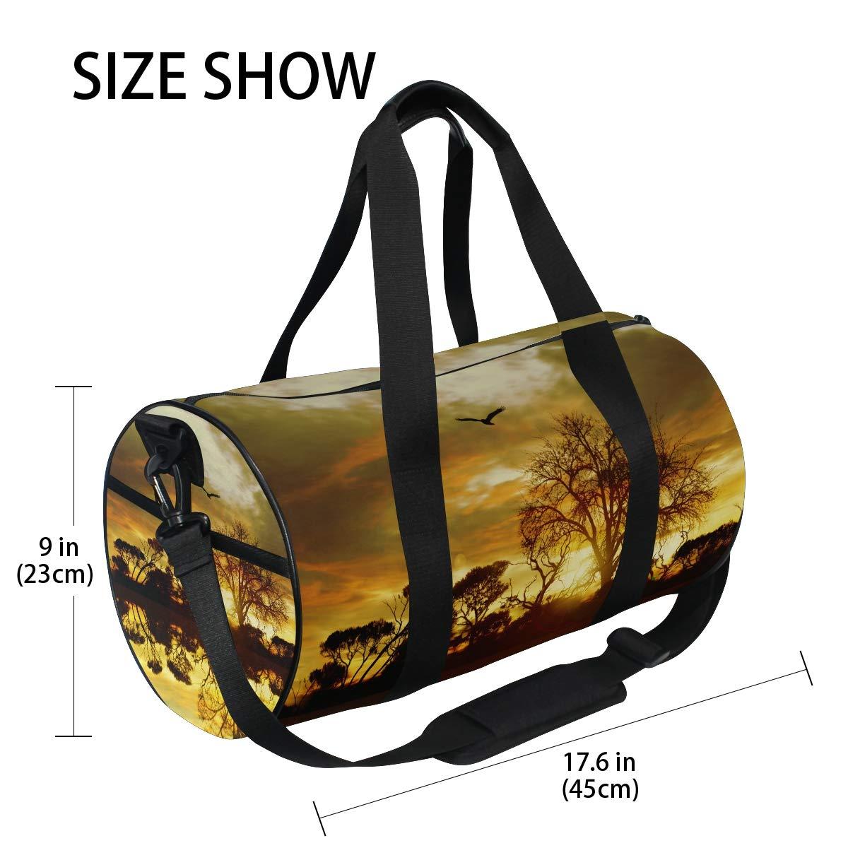WIHVE Gym Duffel Bag Beautiful Landscape Forest Sunset Birds Sports Lightweight Canvas Travel Luggage Bag