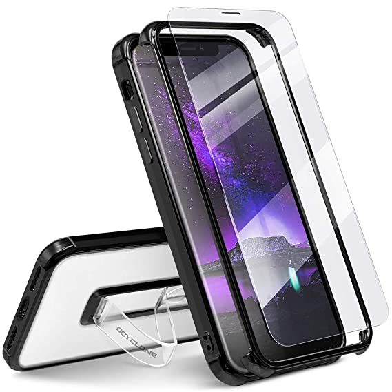 wholesale dealer 5178a 4c893 Henpone iPhone X Case, Clear Phone Cover with Finger Strap Kickstand Ring  Stand Holder & 2pcs Tempered Glass Screen Protector Bumper Drop Protection  ...