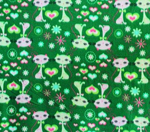 Polar Fleece Fabric PrintsCAT Heart Green / 60