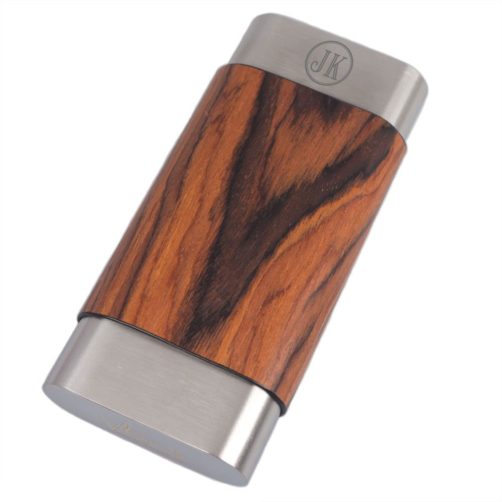 Personalized Visol Terran Natural Wood & Stainless Steel Cigar Case with Free Two Initial Laser Engraving