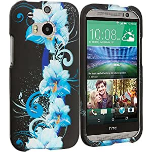 Accessory Planet(TM) Blue Flowers 2D Hard Snap-On Design Rubberized Case Cover Accessory for HTC One M8 by lolosakes