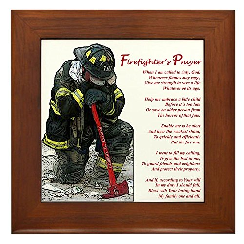 CafePress - Firefighter Prayer - Framed Tile, Decorative Tile Wall Hanging