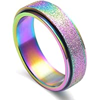 JAJAFOOK Women's 6MM Fashion Stainless Steel Spinner Ring Sand Blast Finish Rainbow
