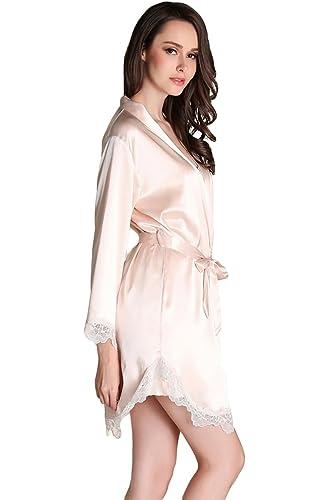 Awaye Satin Nightgown With Robe Solid Lace Silk Like 34 Sleeve