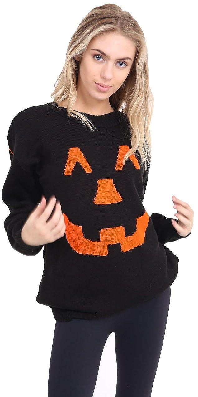 Crazy Girls Womens Ladies Men's Unisex Halloween Pumpkin Face Knitted Jumper Top UK 8-24