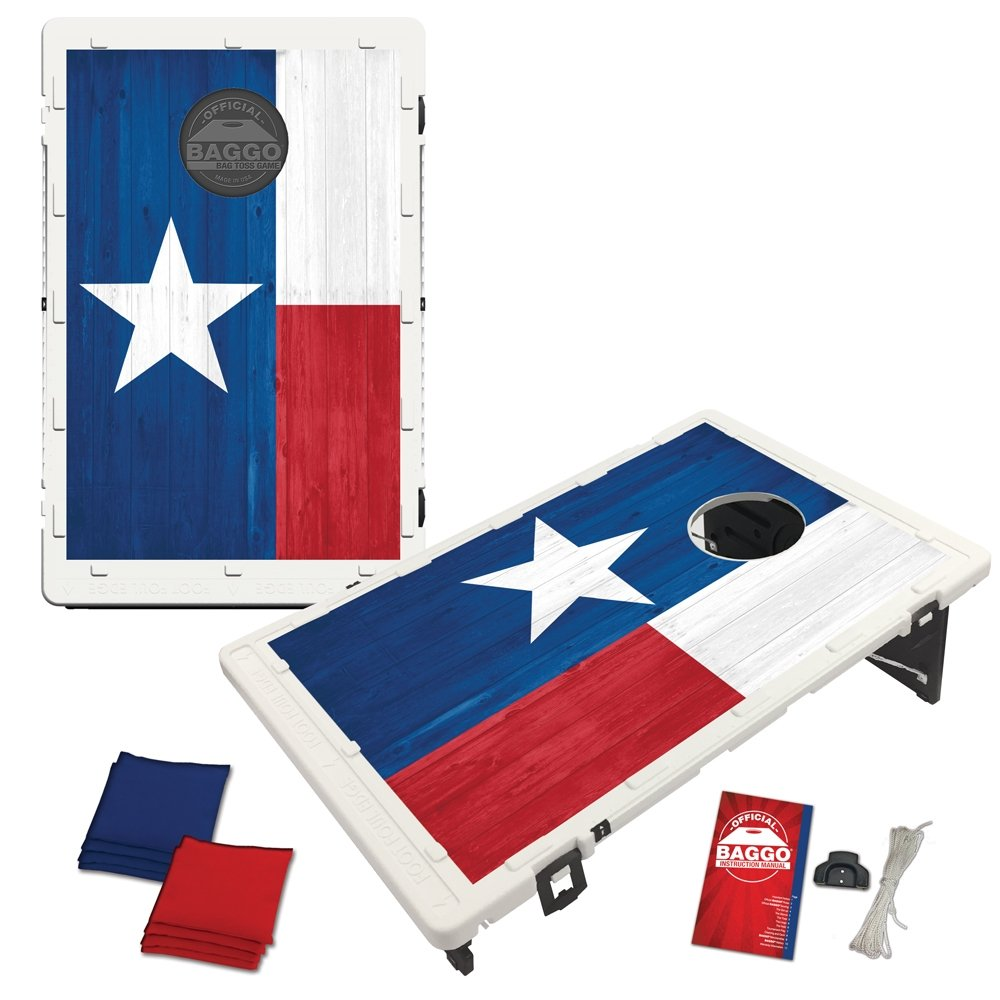 Texas Flag Wood Alt Baggo Bean Bag Toss Portable Cornhole Game