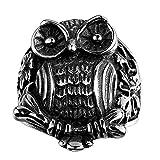 Efloral Vintage Templar Stainless Steel Skull Ring , Owl Shaped, Black Silver, Size 8 9 10 11