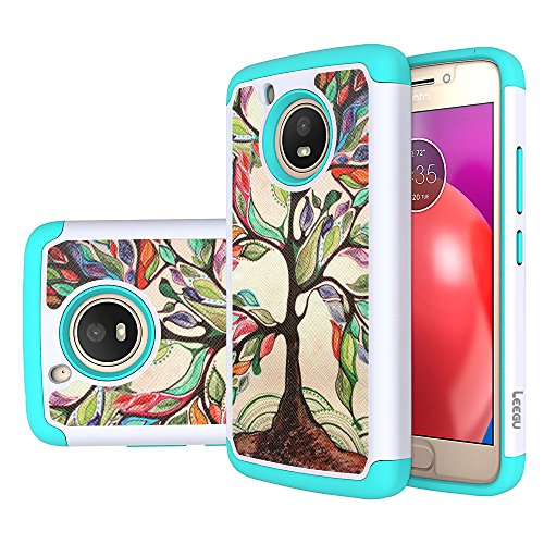 Moto E4 Case, LEEGU [Shock Absorption] Dual Layer Heavy Duty Protective Silicone Plastic Cover Rugged Case for Motorola Moto E 4th Generation (USA Version XT1768) - Love Tree (Plastic Tree Cell)