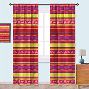 YUAZHOQI Mexican Thermal Insulated Curtains Vibrant Lizard Folklore Window Treatment Home Decor Curtains for Living Room 72 Inches Long(2 Panels)