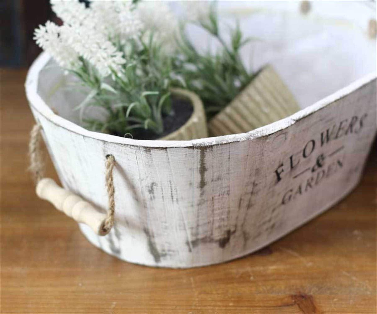 2 Confezioni 8haowenju Vaso da Fiori in Legno Vintage Retro pianta carnosa succulenta Muschio Micro Paesaggio Fiore Secchio in Legno massello Fiore Vasca Color : White