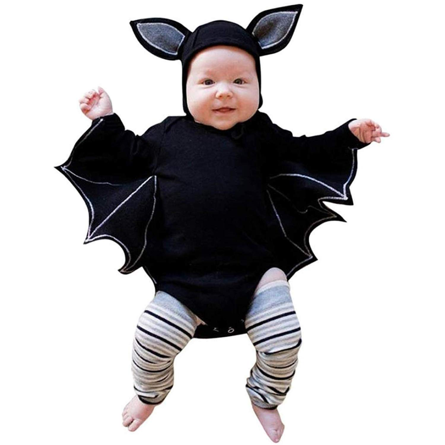BELS Baby Girl Boy Halloween Clothes Black Bat Costume Cloak Romper with Hat Outfit (Black, 80/6-12M)