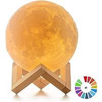 Lámpara Luna 3D, ICONNTECHS IT Brillo Regulable 16 Colores RGB Recargable USB Control remoto y Control táctil LED Lunar Luz Nocturna Decorativa para Dormitorio, Salón, Regalo para Mujeres y Niños 15cm