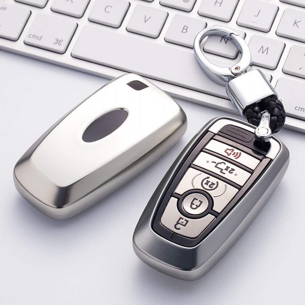 Color : Azul-2 Dunyue Ford Key Fob Cover Protecci/ón completa Funda Key Fob con llavero Compatible con control remoto sin llave Smart Escort Edge Mondeo Ecosport Key Series