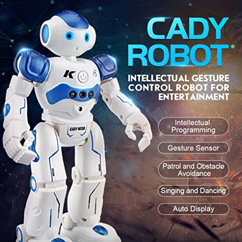 Price comparison product image Nacome New Multi-function Children LED Flashing Lights Toy JJRC R2 Gesture Control Programmable Dancing RC Robot ,USB Charge (Blue)