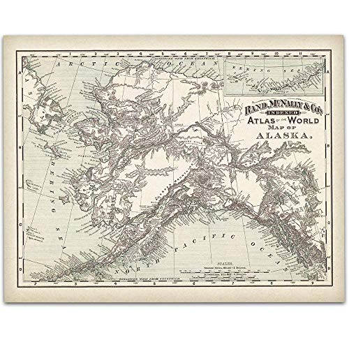 1892 Alaska Map - 11x14 Unframed Art Print - Great Vintage Home Decor, Also Makes a Great Gift Under $15