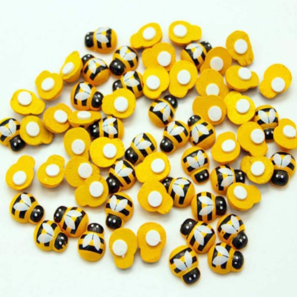 Paletur88 Adesivo 100pz Carini Artigianato Fai da Te Decorativo Parete Liscio Collezioni Mini Ape Frigo Scrapbooking in Legno 3D Luminoso Colori