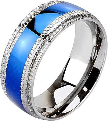 Edelstahl Unisex Band Ring Blau glänzend polliert 6mm breit