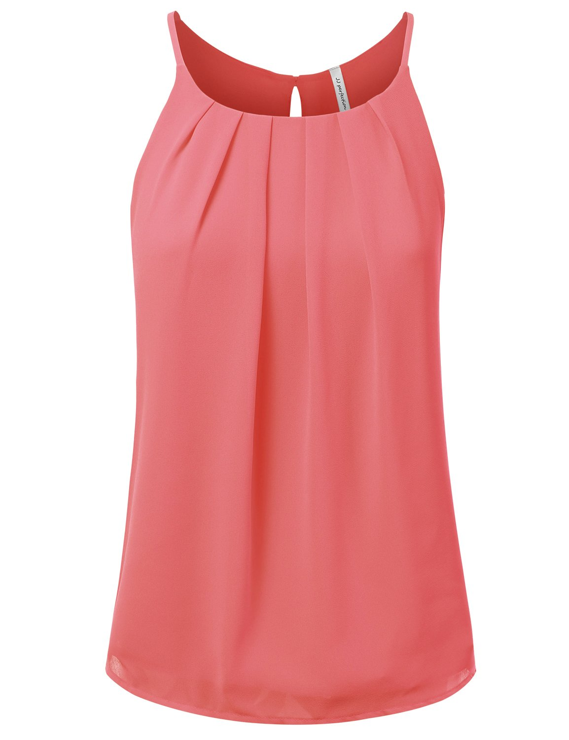JJ Perfection Women's Round Neck Front Pleated Chiffon Cami Tank Top Coral M