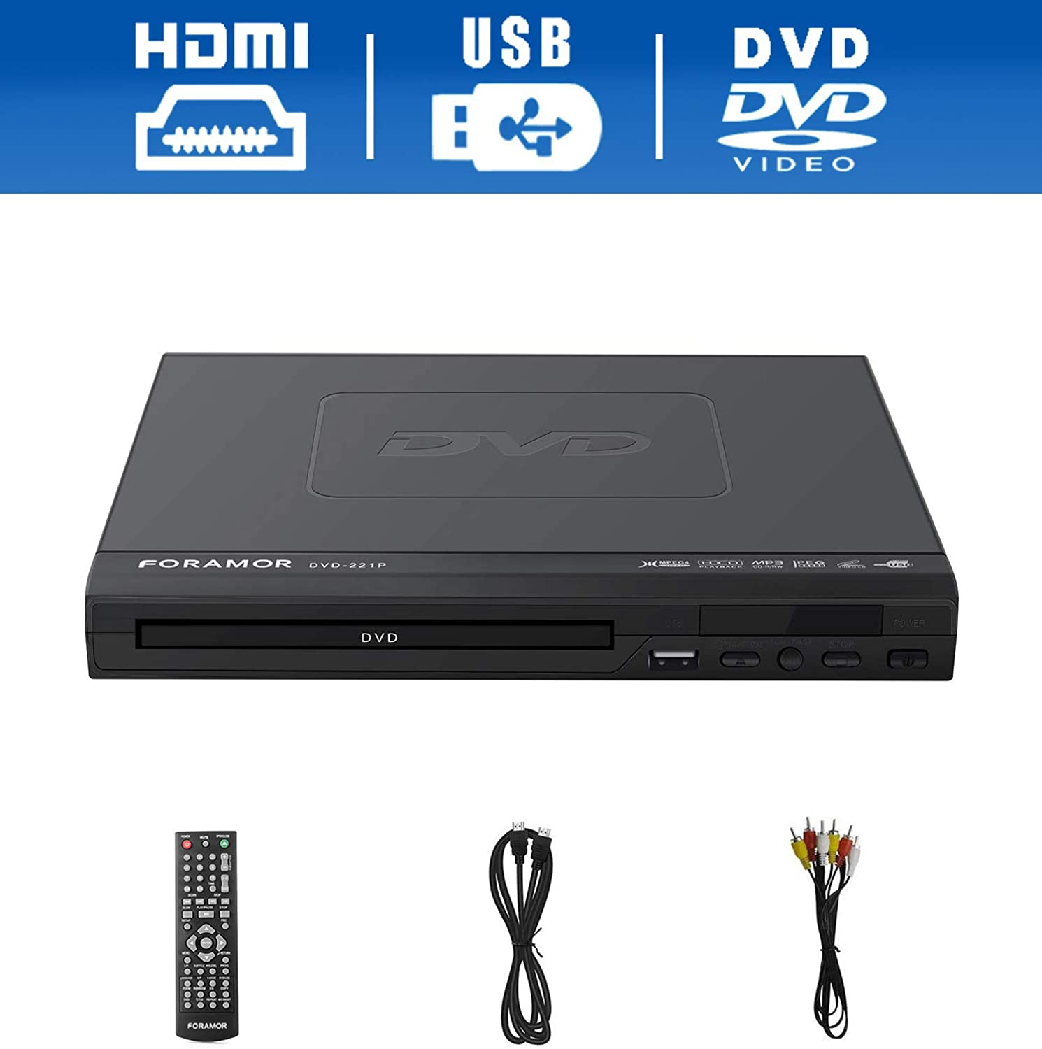 DVD Player,Foramor HDMI DVD Player for TV Support 1080P Full HD with HDMI Cable Remote Control USB Input Region Free HDMI Home DVD Players