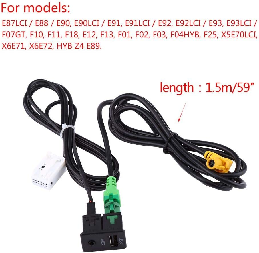 Car USB AUX Switch Socket Wire Harness Cable Adapter For BMW 3 5 Series E87 E90 E91 E92 X5 X6 Car USB AUX Switch /& Connecting Cable