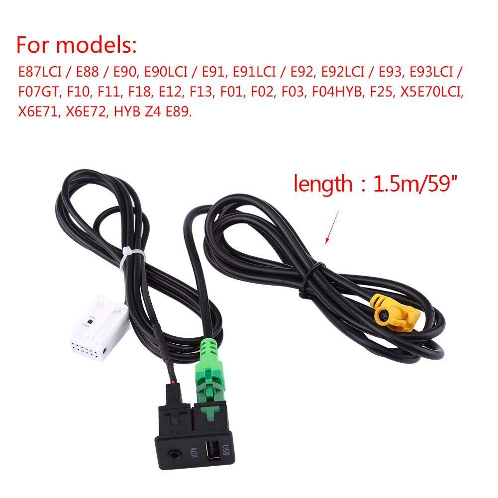 Auto USB AUX Schaltsteckdose Kabelbaum Kabeladapter f/ür 3 5 Serie E87 E90 E91 E92 X5 X6 USB AUX Kabel