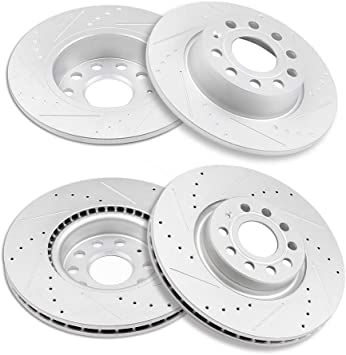 Brake Discs Rotor For 2016-2018 Audi TT Quattro Front and Rear Drilled Slotted