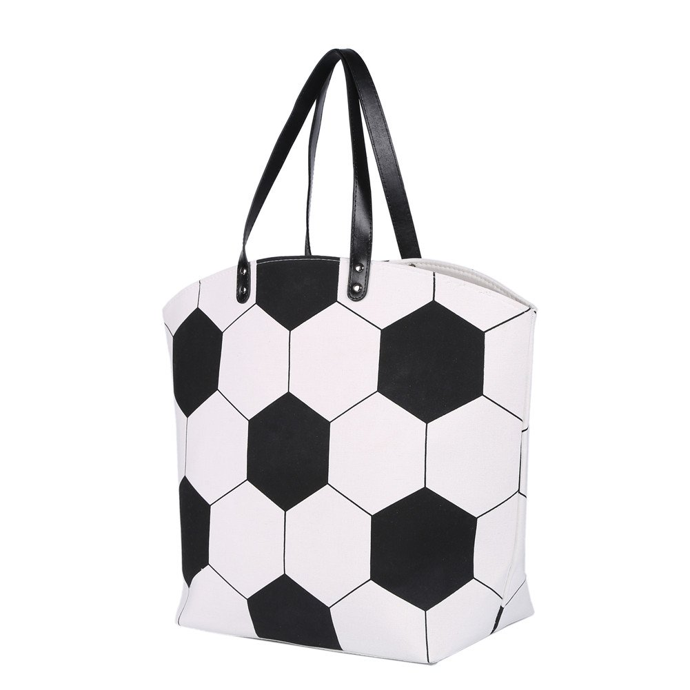 E-FirstFeeling Large Soccer Tote Bag Sports Prints Utility Tote (Soccer Style)