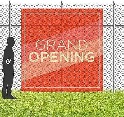 Grand Opening 8x8 CGSignLab Modern Diagonal Wind-Resistant Outdoor Mesh Vinyl Banner