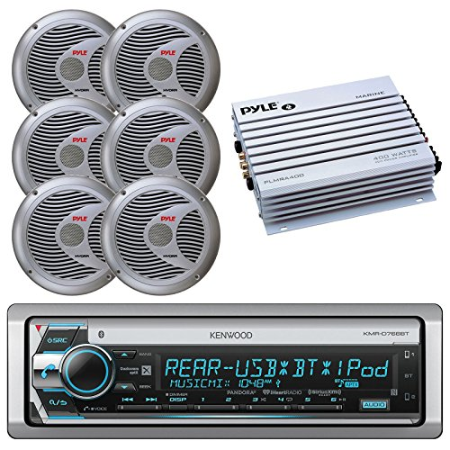 Kenwood KMR-D765BT Bluetooth CD MP3 USB AUX AM/FM Marine Boat Stereo Receiver 6x 6.5 Dual Cone Marine Speakers 4 Ch Waterproof 400 Watt Amplifier