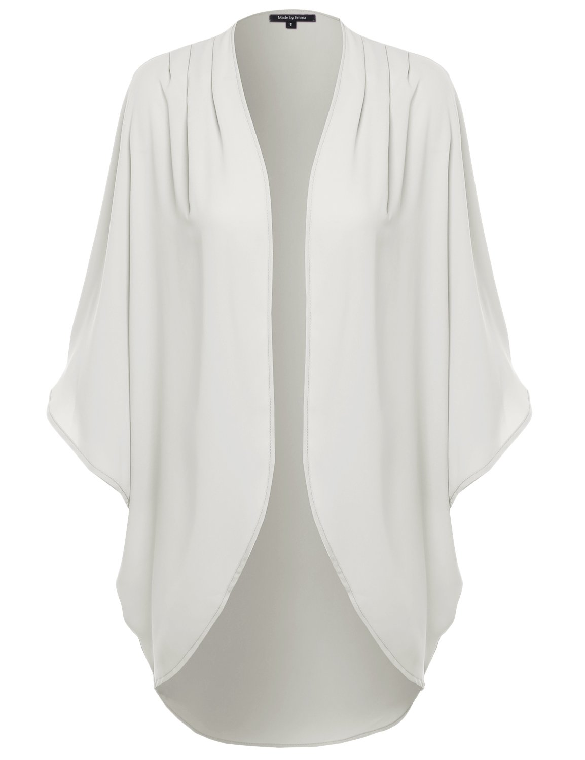 Made by Emma Solid Short Sleeve Open-Front Kimono Style Cardigan Ivory M
